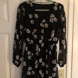 Express floral print black mini wrap dress